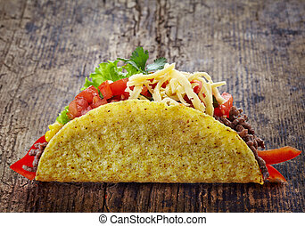 Mexican food Tacos - Mexican food Taco on old wooden table