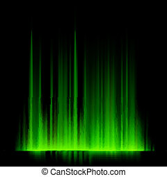 Green northern lights, aurora borealis EPS 10 vector file...