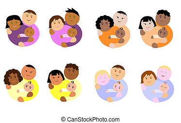 different ethnicity family - illustration about couple of...
