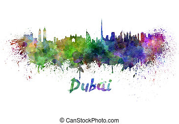 Dubai skyline in watercolor splatters with clipping path