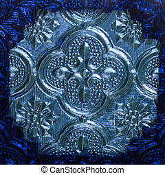 Thai style stained glass - Close up blue thai style stained...