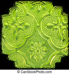 Thai style stained glass - Close up green thai style stained...