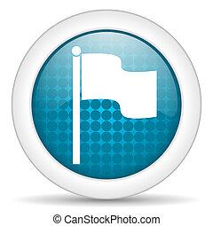 flag icon - blue web glossy icon