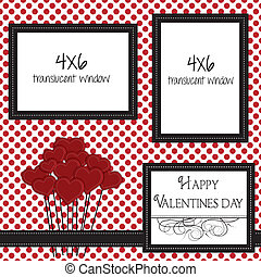 valentine scrapbooking template with heart balloons