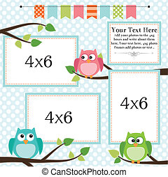 Owl scrapbooking template with banner or bunting and 4x6...