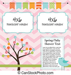 Spring, baby shower, or summer layout with trees, birds and...