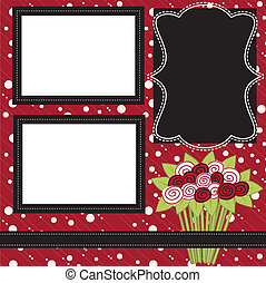 Mothers day or valentine layout with flowers or roses