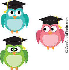 Three owls with graduation caps, for scrapbooking, vector...