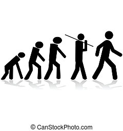 Evolution - Concept illustration showing stick figures...