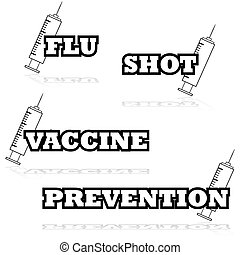Vaccines - Icon illustration showing a syringe beside words...