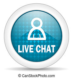 live chat icon - blue web glossy icon