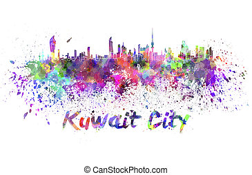 Kuwait City skyline in watercolor splatters with clipping...