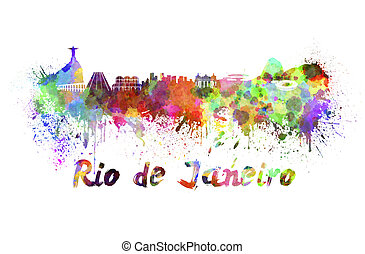 Rio de Janeiro skyline in watercolor splatters with clipping...