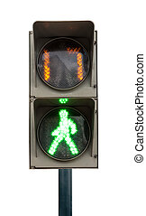 green signal of a traffic light in isolation