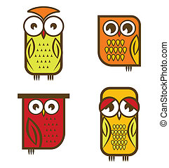 Beautiful isolated owl collection