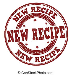 New recipe stamp - New recipe grunge rubber stamp on white,...