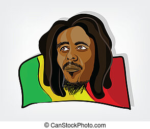 Rasta man Illustration of a rastafarian man on a jamaican...