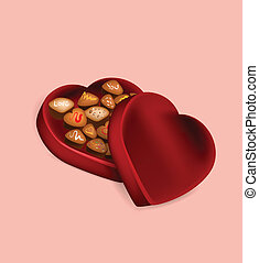 Illustration of Valentines day chocolate box on pink...