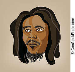 raster illustration of man with dreadlocks. Clip-art,...