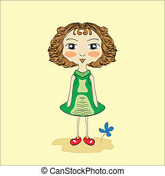 Illustration of hand drawn girl with blue flower