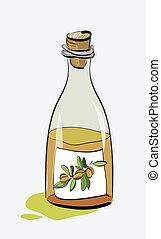 Olive Oil Bottle Sketch. Clip-art, Illustration.