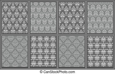 Collection of eight victorian carpet designs. Clip-art,...