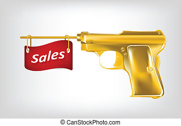 Illustration of golden pistol shutting a flag with sales....