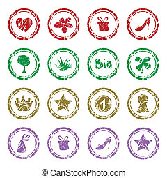 Collection of colorful different grunge rubber stamps
