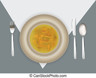 Illustration of place setting with soup . Clip-art,...