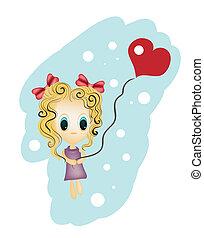 Coração, pequeno, Dado forma,  balloon, Ilustração, segurando, menina