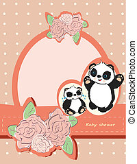 Girl baby shower card with cute panda bears and roses