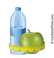 Illustration of Apple With Measuring Tape and Fresh Bottle of Water . Clip-art, Illustration.
