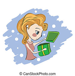 Illustration of little girl opening present box
