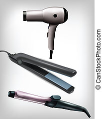Collection of realistic flat iron, curling iron and hair dryer