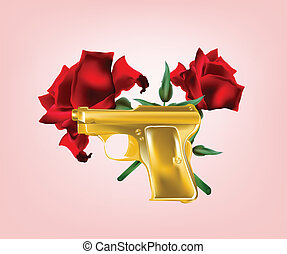 Illustration of realistic golden pistol with two red roses