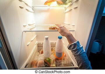 toma, refrigerador, mano, Rosquilla, hembra, retrato