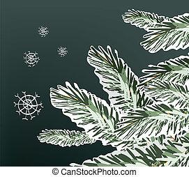 Pine Tree Snowy Branches Winter Illustration. Clip-art,...