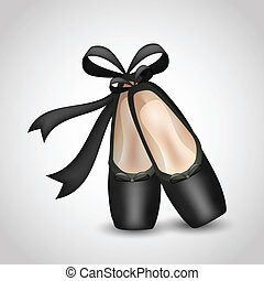 Illustration of realistic black ballet pointes shoes....