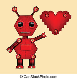 Illustration of red valentine robot with heart
