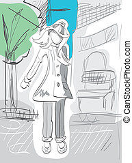 Illustration of fashion girl with urban landscape