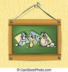 Illustration of wooden school board with cartoon letters abc