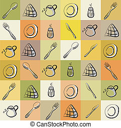 Vintage background with different kitchen utensils