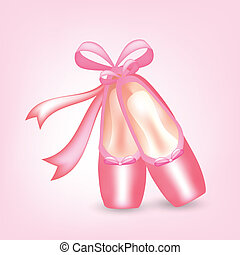 Illustration of realistic pink pointed shoes with ribbons...