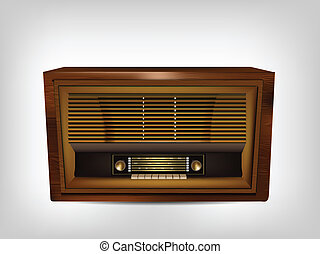 Illustration of antique wooden radio on gray background
