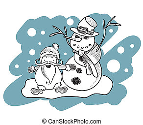 Illustration of coloring book with Santa Claus and snowman