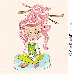 Illustration of beautiful teenager eating chinese food on pillow. Clip-art, Illustration.