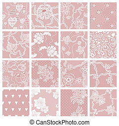 Set of lacy patterns - Lace seamless patterns with flowers...
