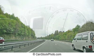 Speedy car driving on highway - Speedy driving car with...