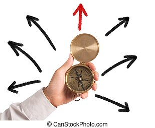 Correct direction - Businessman with compass looking for the...