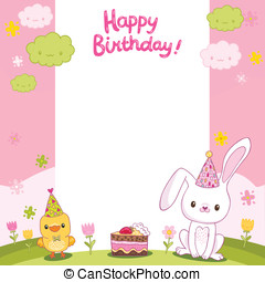 Happy Birthday card with a bunny and bird